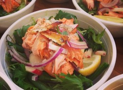 salmon lychee salad