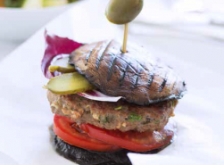 Mushroom, beef burgers with steamed vegetable salad copy